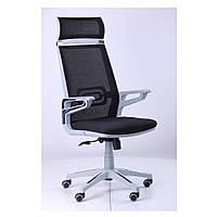 Кресло Тесла (Tesla) - сетка черная,каркас белый