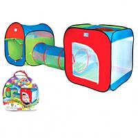 Детская игровая палатка M 2503 с тоннелем: москитные сетки, 240х74х84 см, сумка для переноски/хранения