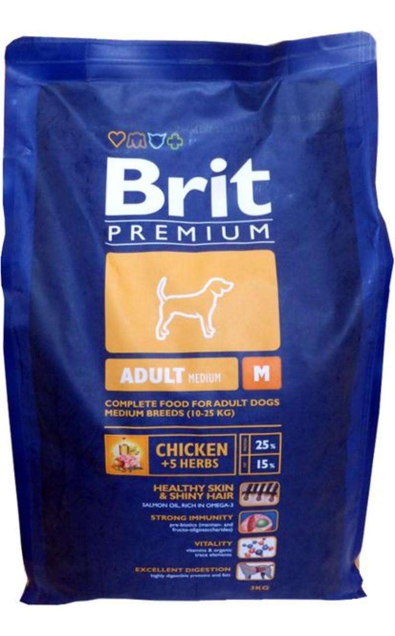 Brit Premium Adult M - сухой корм для пожилых собак средних пород весом от 10 до 25 кг - Интернет-магазин «Моё дело» в Харькове