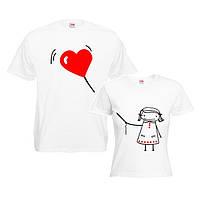 Пара футболок для влюбленных сердце в руках