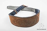 Кожаный пояс  ручной работы, 12 см, фото 1