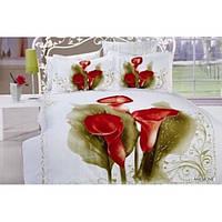 Комплект постельного белья  с цветами сатин Полуторный  Anemone -AR