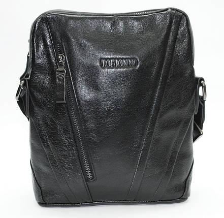 Отличная повседневная кожаная сумка черная TOFIONNO, фото 2