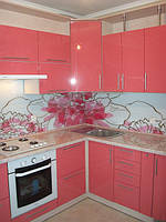 Кухня крашеная, розовая, глянец, угловая, радиусная, фото 1