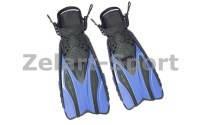 Ласты с открытой пяткой (пяточный ремень) DORFIN PL-448 (р-р L-XL-42-45,  S-M-38-41, желтый, синий, серый, кр)