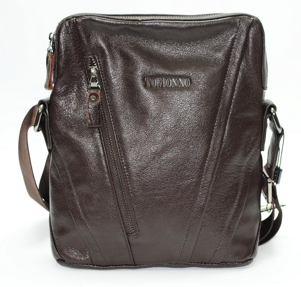 Отличная повседневная кожаная сумка коричневая Tofionno TF005115-521