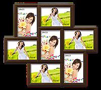 Мультирамка-коллаж Камелия на 7 фотографий 10x15 коричневая