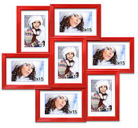 Мультирамка-коллаж Камелия на 7 фотографий 10x15 красная