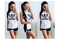 Летний спортивный костюм  Adidas шорты белый