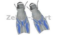 Ласты с открытой пяткой (пяточный ремень) DORFIN PL-449 (р-р L-XL-42-45, желтый, синий, серый, черный)