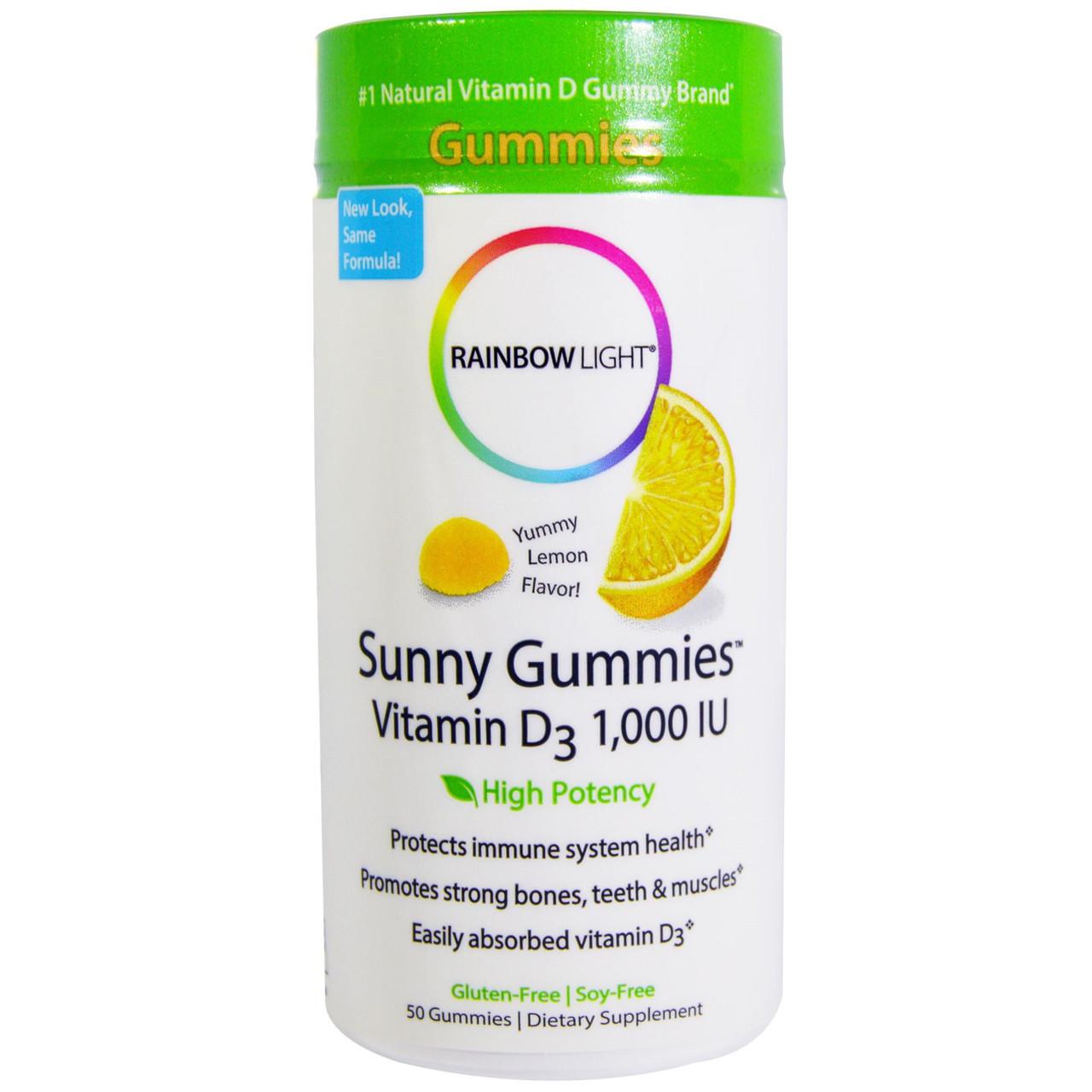 Витамин D-3 для укрепления костей и мышц, лимонные мармеладки, Rainbow light, 50 таблеток