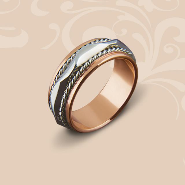98dc52878d90 Золотое обручальное кольцо со вставкой белого золота, цена 9 520 грн ...