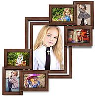Мультирамка-коллаж Анфиса на 7 фотографий коричневая