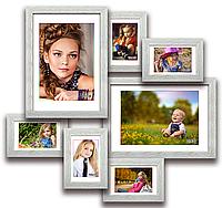 Мультирамка-коллаж Алисса на 7 фотографий брашированная белая