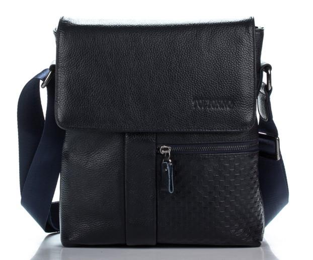 Эксклюзивная кожаная сумка темно-синяя