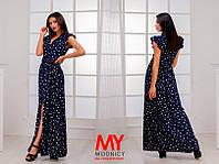 Платье  Штапельное  звёздочка с воланчиками цвет тёмно синий