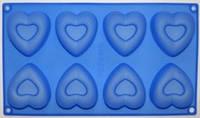 Форма силиконовая Сердечки с углублением на планшете