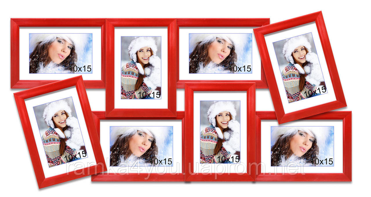 Мультирамка-коллаж Валентина на 8 фотографий 10х15 красная