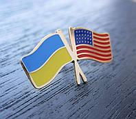 Значок флаг Украины и США, фото 1