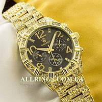 Кварцевые женские наручные часы Rolex gold black