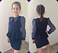 Школьное платье с бантом, ткань мадонна и шифон