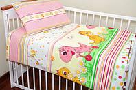 """Детские комплекты постельного белья в кроватку из 3-ед- """"Дино розовый"""""""