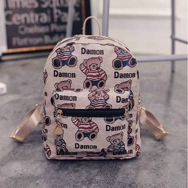 Стильный маленький женский рюкзак с мишками