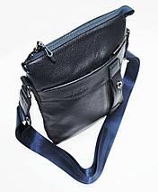 Мужская сумка из 100% натуральной кожи синяя, фото 2