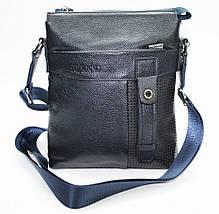 Мужская сумка из 100% натуральной кожи синяя, фото 3