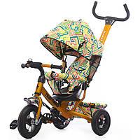 Велосипед детский 3-х колесный Trike колясочный, надувные колеса, T-351-3 Оранжевый