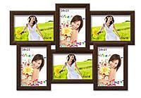 Мультирамка-коллаж Классическая на 6 фотографий 10х15 коричневая