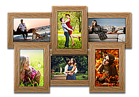Мультирамка-коллаж Классическая на 6 фотографий 10х15 с эффектом браширования светлое дерево