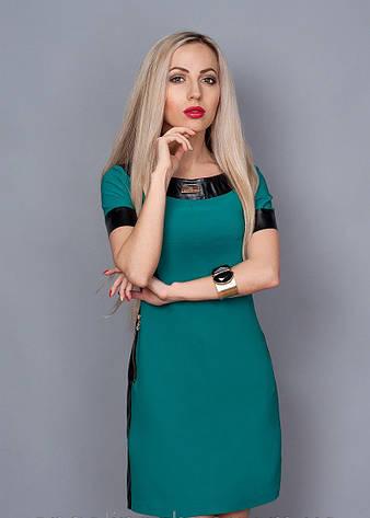 Модное летнее платье, декорированное вставками кожи., фото 2