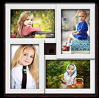 Мультирамка-коллаж на 4 фотографии 10х15 белая, фото 1
