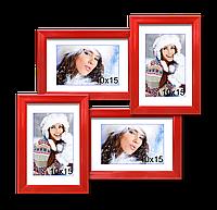 Мультирамка-коллаж Лесенка Мини на 4 фотографии 10х15 красная