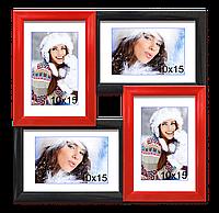 Мультирамка-коллаж на 4 фотографии 10х15 черно-красная
