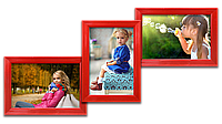 Мультирамка-коллаж Волна на 3 фотографии 10х15 красная