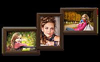Мультирамка-коллаж Волна на 3 фотографии 10х15 коричневая