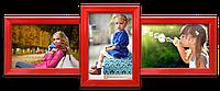 Мультирамка-коллаж Домино на 3 фотографии 10х15 красная