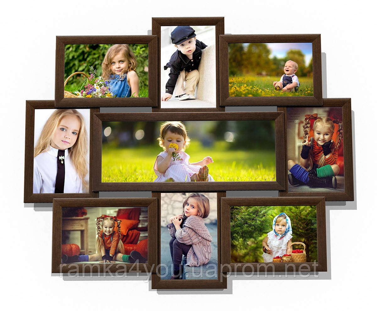 Мультирамка-коллаж Виктория на 9 фотографий коричневая