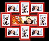 Мультирамка-коллаж Виктория на 9 фотографий красная