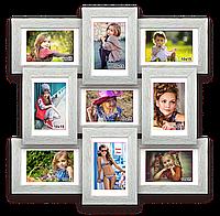 Мультирамка-коллаж Классическая на 9 фотографий 10х15 белая с эффектом браширования