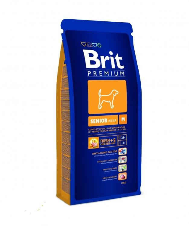 Brit Premium Senior M - сухой корм для для пожилых собак средних пород весом 10-25 кг - Интернет-магазин «Моё дело» в Харькове