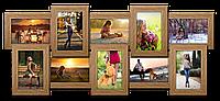 Мультирамка-коллаж Классическая на 10 фотографий 10х15 светлое дерево премиум с эффектом браширования