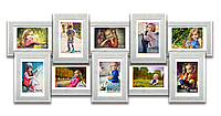 Мультирамка-коллаж Классическая на 10 фотографий 10х15 белая премиум с эффектом браширования