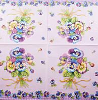"""Салфетка декупажная 33x33см 2""""Букет цветов на фиолетовом фоне"""""""