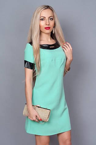 Нарядное интересное молодежное летнее платье, декорированное вставками кожи., фото 2