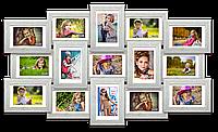 Мультирамка-коллаж Елизавета на 15 фотографий 10х15 белая премиум с эффектом браширования
