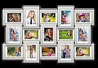 Мультирамка-коллаж Классическая на 15 фотографий 10х15 белая премиум с эффектом браширования