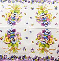 """Салфетка декупажная 33x33см 2""""Букет цветов на белом фоне""""(товар при заказе от 500грн)"""